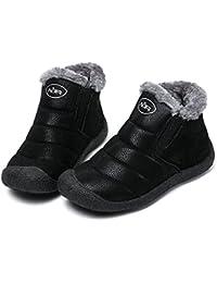 Mujer Botas de Nieve Zapatos, Gracosy Impermeables Calientes Botines Forradas Cortas Tobillo Boots Planas Invierno Zapatos Cortas Fur Aire Libre Boots Botines