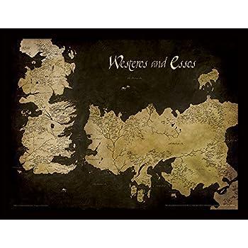Game of Thrones Westeros and Essos Antique Map 30x40 cm Framed Print Game Of Thrones Map Essos on