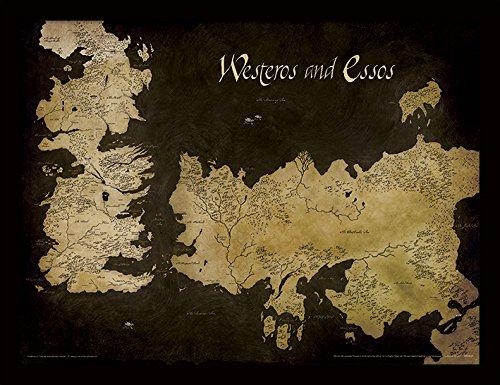 Game Of Thrones Juego de Tronos 30 x 40 cm Poniente y Essos Mapa Antiguo impresión enmarcada
