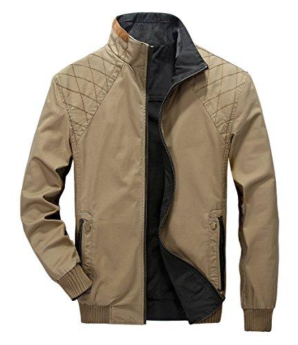 WS668 Herren Dünn Stil Casual Stehkragen Double Sided Jacke Baumwolle Outdoor Mäntel Classic Mens Leichte Coats