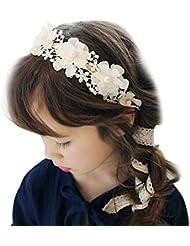 TININNA Fait à la Main Bandeau de Cheveux en Tissu Dentelle Serre Tête Accessoire Fleur Collier Elégant Headband pour Enfant Fille Fillette