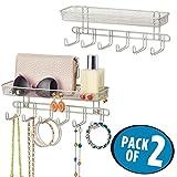 mDesign 2er-Set Schlüsselbrett mit 6 Haken und Briefablage - zum Aufhängen von Schlüsseln oder Handtaschen im Eingangsbereich - praktisches Schlüsselboard zur Wandmontage - mattsilberfarben