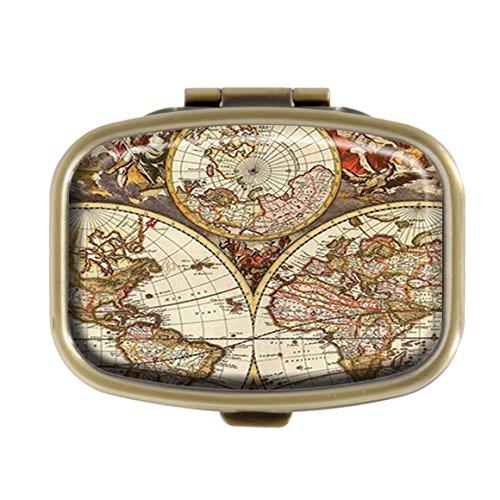 GDEE Vintage Map Custom Fashion Edelstahl Bronze Pillendose Western Tablets Tablet Halter Management Fall Tasche Oder Geldbörse
