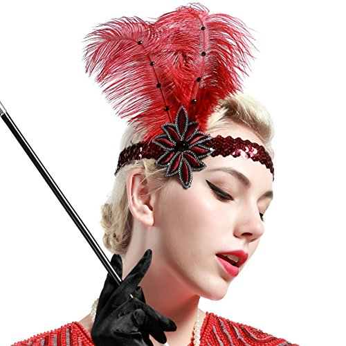 Babeyond® 1920s Stil Stirnband mit weinroter Feder Inspiriert von Der Große Gatsby Accessoires für Damen Freie (Flapper Kostüm Red)