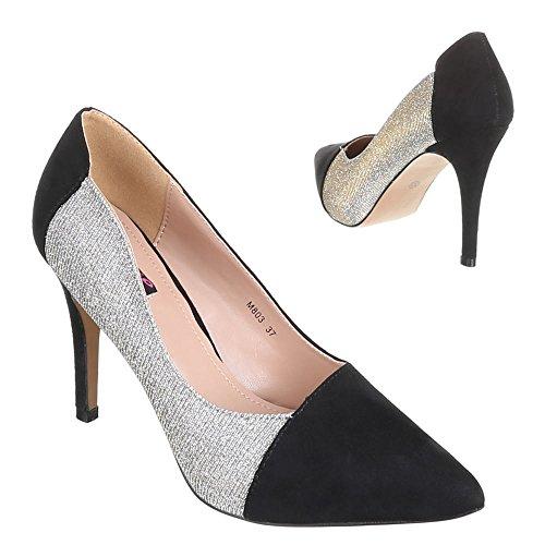 Damen Schuhe, M803, PUMPS HIGH HEELS Silber Schwarz