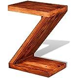 """vidaXL Mesita auxiliar de madera maciza Sheesham, en forma """"Z"""""""