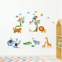 Decowall Wild Jungle Animals Kids Wall Stickers Wall Decals Peel and Stick Removable Wall Stickers for Kids Nursery Bedroom Living Room (1206/8016)