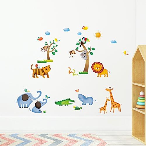 dschungel wandtattoo Decowall DW-1206 Dschungeltiere Wilde Dschungel Tiere Wandtattoo Wandsticker Wandaufkleber Wanddeko für Wohnzimmer Schlafzimmer Kinderzimmer