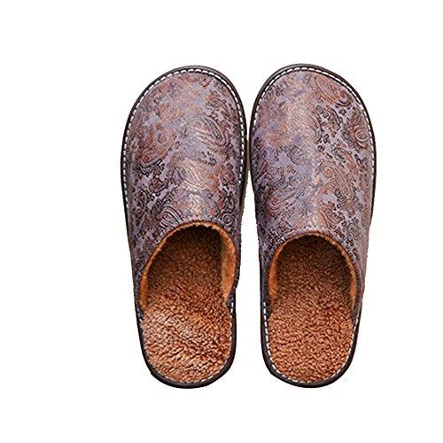 TELLW Pantoufles en Coton Chaud DHiver Hommes et Femmes Rétro Chambre à la Maison Gris