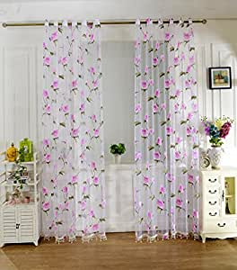 blumen t ll schiere voile panel drapieren vorhang f r raumfenster schlafzimmer rosa. Black Bedroom Furniture Sets. Home Design Ideas