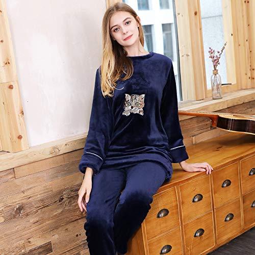 Yshuiyi Pyjamas Frauen Langärmelige Korallen Fleece Pyjamas Weibliche Cartoon Winter Flanell Hause Service Anzug