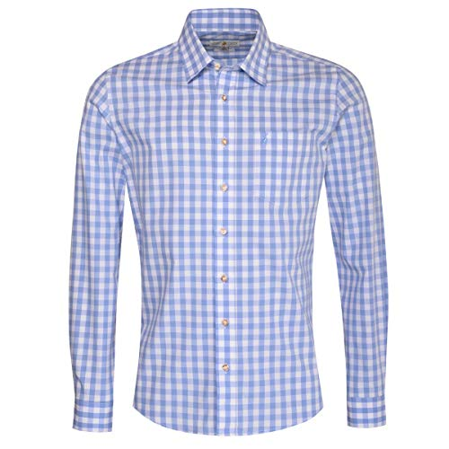 Almsach Herren Trachten-Mode Trachtenhemd Fridolin Slim Fit in Hellblau traditionell, Größe:S, Farbe:Hellblau