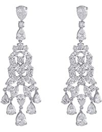 Shaze Brass Cubic Zirconia Rhodium-Plated Pretty Party Earrings for Women