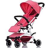 ADZPAB Kinderwagen tragbare leichte faltende einfachen Regenschirm kann sitzen stützen Baby Kinder Vier Jahreszeiten Universal Trolley können auf dem Flugzeug (Farbe : WhiteTube(red))