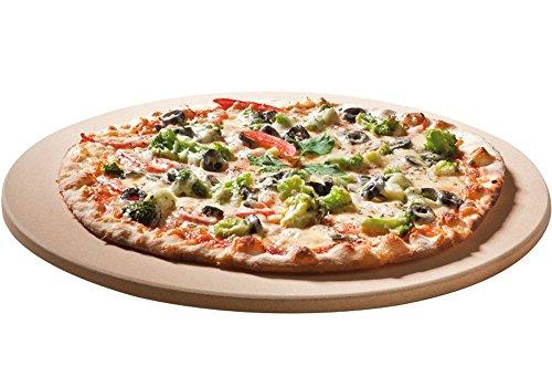Santos Premium Pizzastein - rund 26 cm Ø - bis 1.000 Grad - für Gasgrills, Backofen, Holzkohlgrills, Brotbackbackstein geeignet
