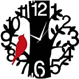 #8: Dinines Round Wall Clock for home for kitchen for living room for office for gifts for hall wall clock for bedroom stylish wooed wall clock 13 x 13 Inch (Black + Red)