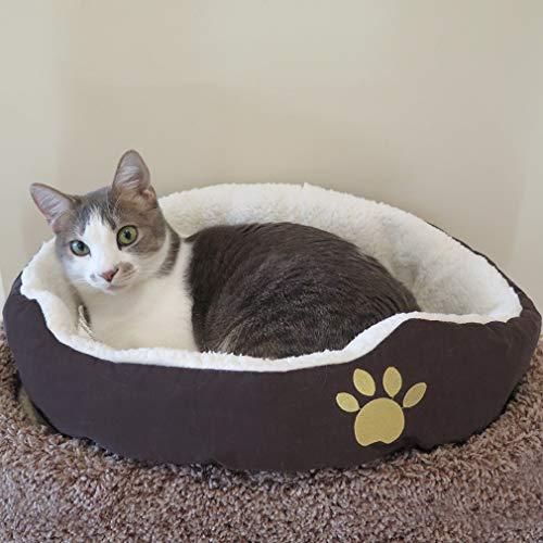 Evelots kleines rundes Haustierkörbchen für Katzen und Hunde,warm,braun - 2