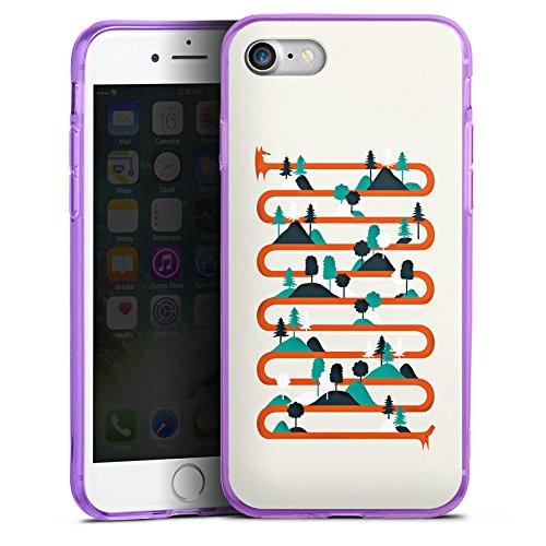 Apple iPhone 7 Silikon Hülle Case Schutzhülle Fuchs Wald Kette Silikon Colour Case lila