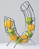 Designer-Obstkorb Früchtekorb Obstschale Pipe aus Metall silber verchromt 43 cm