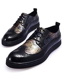 HENGJIA Herren Rindleder Brogue Schnürhalbschuhe Oxfords Budapester Schuhe Businessschuhe