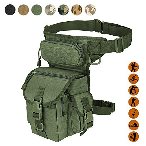 Militärische taktische Fallgerätetasche Werkzeug Fanny Oberschenkel Pack Bein Rig Utility Paintball Airsoft Motorradfahren Thermit Versipack, Schwarz/Tan/Army Green/Camouflage.7 Farben, armee-grün