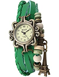 Naivo Women's Quartz Brass Plated Stainless Steel and Leather, Color:Green (Model: WATCH-1208)