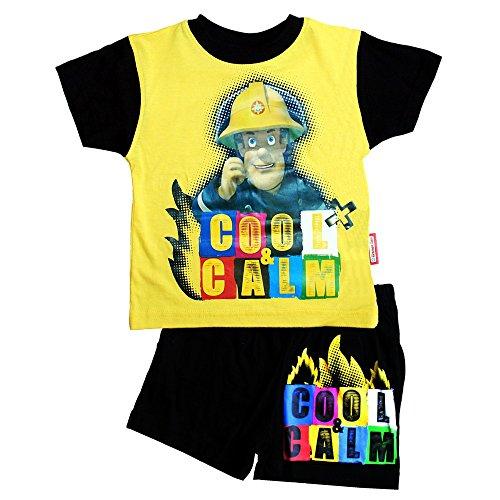 Pyjama kurz Sam | Größe 92-116 | Feuerwehrmann Sam | Set T-Shirt & Shorts, Größe:92, Farbe:Gelb