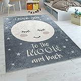 Paco Home Kinderteppich Kinderzimmer Mädchen Waschbar Sterne Niedlicher Mond Spruch Grau, Grösse:80x150 cm