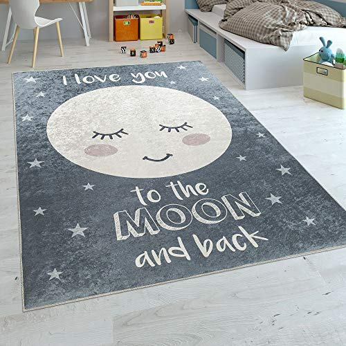 Paco Home Kinderteppich Kinderzimmer Mädchen Waschbar Sterne Niedlicher Mond Spruch Grau, Grösse:140x200 cm