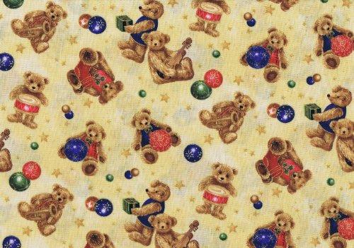 Fat Quarter YE Olde Weihnachten Teddybären (creme) Baumwolle Quilten Stoff -