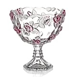 JE Fruit Bowl Glas Obstteller Crystal Fruit Candy Plate Home Wohnzimmer Verheiratet Fruit European Style (Farbe : Red)