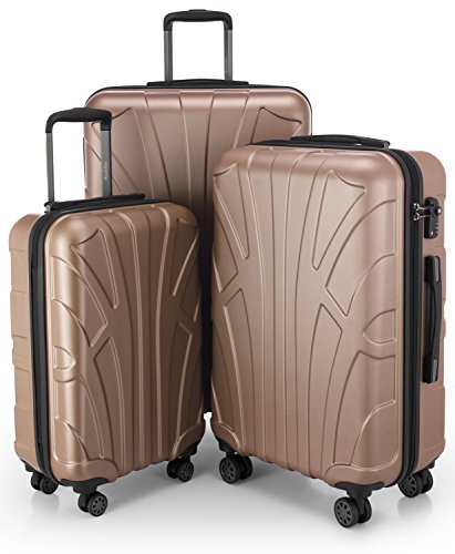 Suitline - Set di 3 Valigie Trolley rigido TSA 4 ruote ABS, (S, M, L) Oro