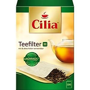 Cilia tè Filtro Filtro di Carta Set, per l' utilizzo con e Senza Supporto, 2X 100Pezzi, Dimensione: M, Colore: Marrone Naturale, 125432