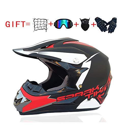 YingZW Motorrad Off-Road Helme Motocross Quad-Motorrad-Roller Helm MTB ATV Dirt Bike Straße Motorrad-Sturzhelm Männer Frauen Universal (Zahnrad-Skibrillen Handschuhe Maske Helm Net),D,M