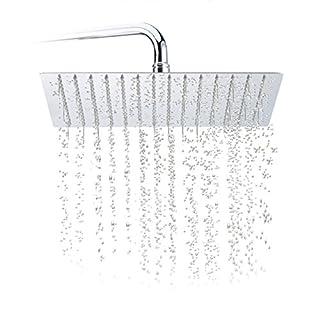 Relaxdays Duschkopf Regendusche quadratisch, 300 mm, Edelstahl, Spiegeleffekt, Hochglanz, Rain Shower 1/2 Zoll, Silber
