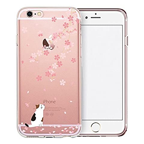 iPhone SE Case, TrendyBox Cute Cartoon Transparent Case for iPhone 5 5S SE (Cherry Blossom and White Cat)