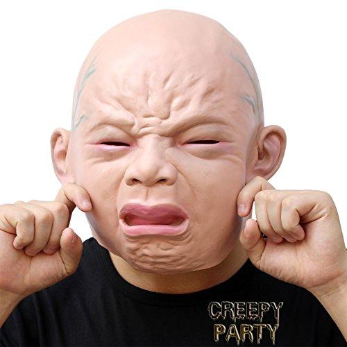CreepyParty Deluxe Neuheit-Halloween-Kostüm-Party-Latex-menschliche Hauptmaske Masken Weinende Kind