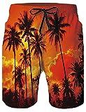 Loveternal Shorts de Plein Homme Hawai Beach Shorts 3D Cocotier Imprimé Shorts de...
