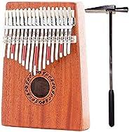 17 Key Kalimba with Mahogany Portable Thumb Piano Mbira Marimba Sanza of Wooden Attached Ore Metal Tines