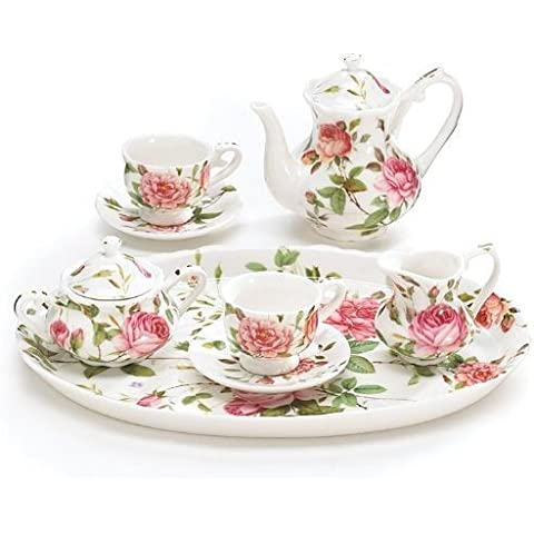 Mini Saddlebrooke Tea Set Flowers Porcelain Teacup Teapot Saucers Tray Pink Roses Sugar Creamer by Burton & Burton