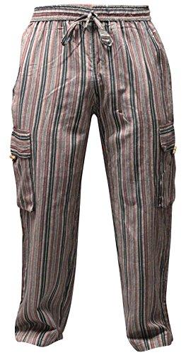 Shopoholic Fashion Unisex vielfarbige-streifen marlene-hosen-sidepocket Hippy Hose Kaffee mix
