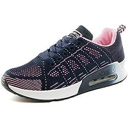 Zapatillas de Deportivos de Running para Mujer Gimnasia Ligero Sneakers Air Cushion Negro Azul Gris Blanco Azul 39