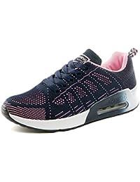 new style 97732 bd732 PAMRAY Femmes Baskets de Courses Basses Athletique Marche Filets Chaussures  Sport Run Noir Bleu Gris Blanc