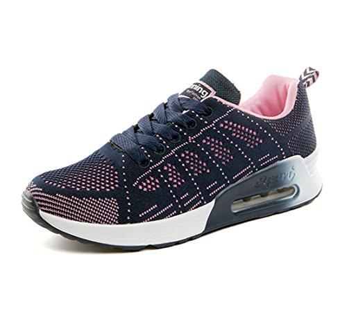 Zapatillas de Deportivos de Running para Mujer Gimnasia Ligero Sneakers Air Cushion Negro Azul Gris Blanco Azul 37