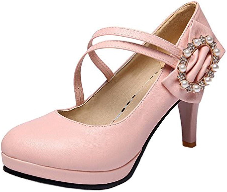 RAZAMAZA Mujer Dulce Bombas Zapatos Lazo -