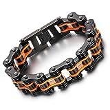FEYCH Herren Armband, 16mm Breite Edelstahl Fahrradkette Biker Motorradkette Hochglanz Poliert Rock Link Armreif, Orange schwarz