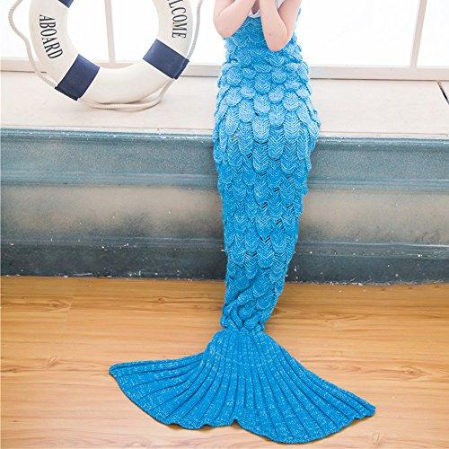 Kinder Meerjungfrau Decke Strickmuster Schuppe-Stil Fischschwanz Schlafdecke Mermaid Blanket