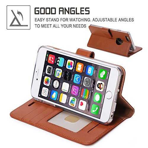 iPhone 6S Plus Coque, Coque iPhone 6 Plus, Fyy® [Séries Haut de gamme] Étui en cuir de première qualité avec Coverture Toute-Puissante pour iPhone 6 Plus/6S Plus (5.5 pouces) Motif 63 1A-Brun Foncé