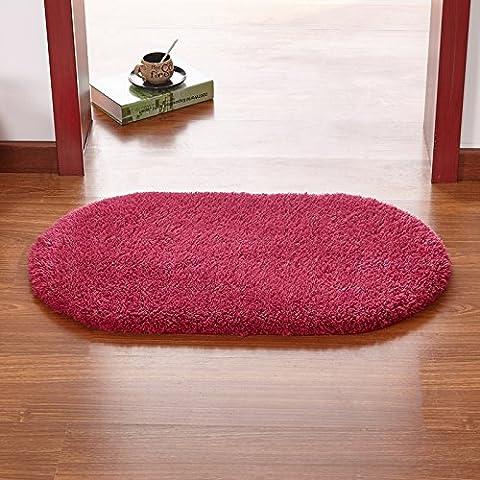 YangR*Los Eingangstür Mat esterillas dormitorio cocina baño bañera puerta salud absorbente rutschfeste pies mat, 60*160cm, rondas de vino rojo