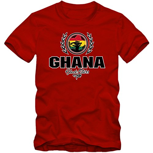 Fußball Ghana V2 T-Shirt | Fußball | Herren | Black Stars | Trikot | Nationalmannschaft © Shirt Happenz Rot (Red L190)